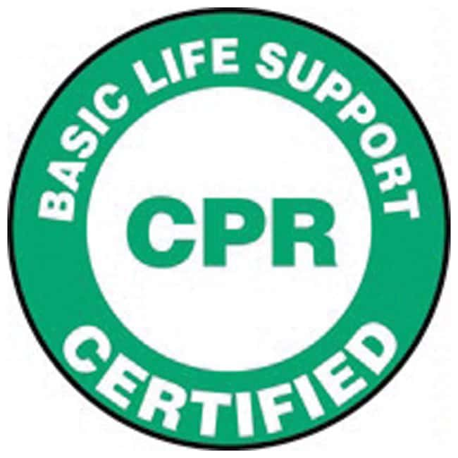 Accuform Signs Hardhat Labels Legend: Basic Life Support CPR Certified;