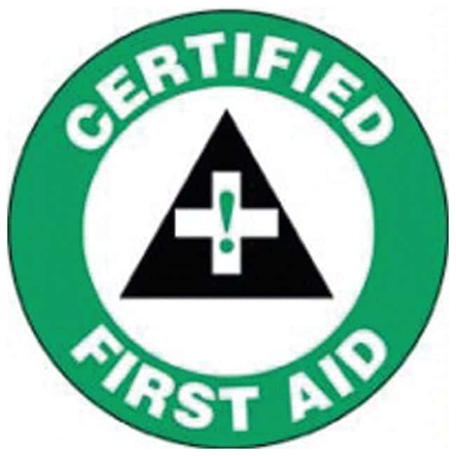 Accuform Signs Hardhat Labels Legend: Certified First Aid, with graphic;