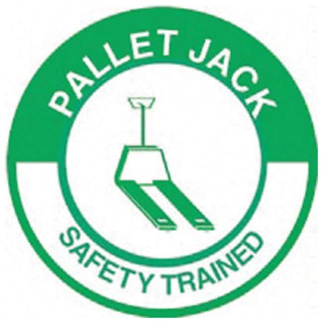 Accuform Signs Hardhat Labels Legend: Pallet Jack Safety Trained; Size: