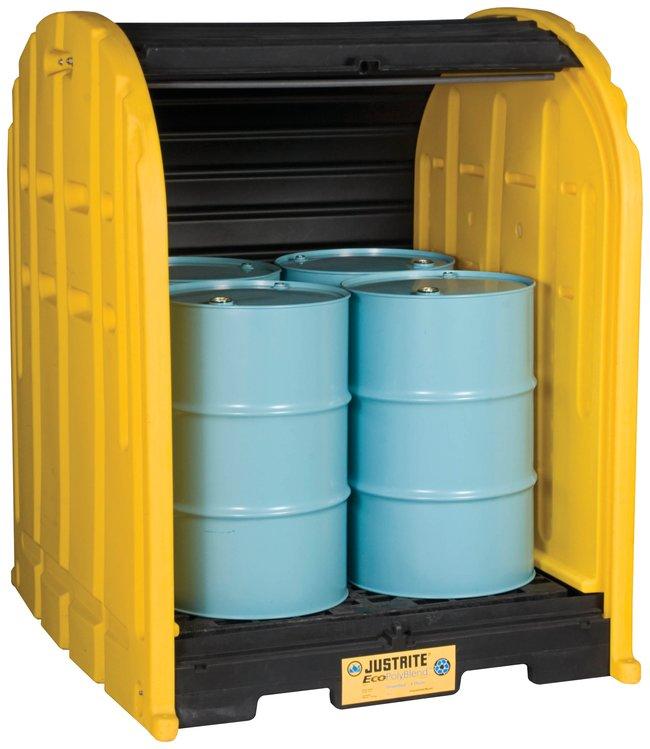 Justrite EcoPolyBlend DrumSheds Storage shed; 4 Drum:Gloves, Glasses and