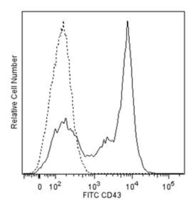 CD43 Rat anti-Mouse, FITC, Clone: S7, BD 0.5mg; FITC CD43 Rat anti-Mouse, FITC, Clone: S7, BD