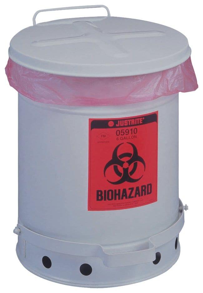 Justrite™Contenitore per rifiuti a rischio biologico con approvazione FM O.D. x H: 12 x 16 in.; Capacity: 6 gal. (23L) Justrite™Contenitore per rifiuti a rischio biologico con approvazione FM