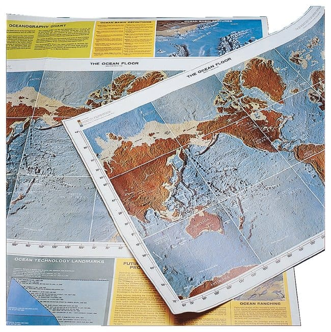 Oceanography Charts  Depict ocean floor as well as major seas, lakes, and