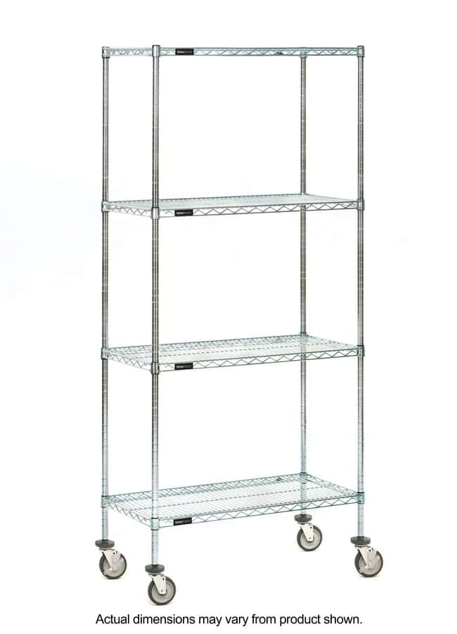 Fisherbrand 4-Shelf Mobile Wire Shelving Unit:Furniture, Storage, Casework,