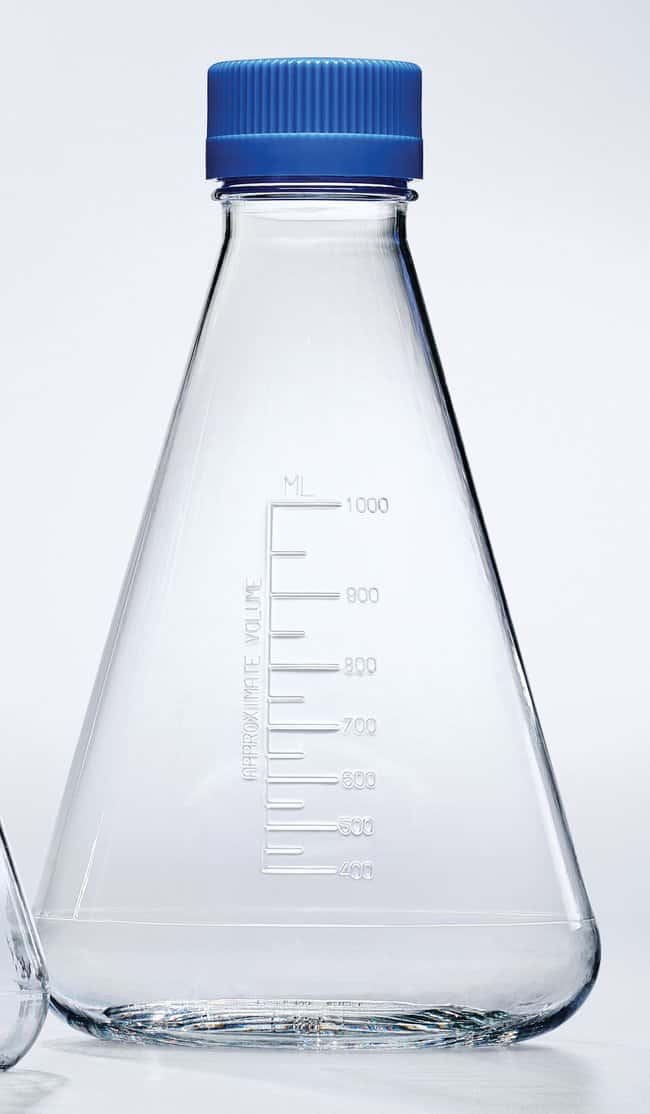 Thermo Scientific™ Nalgene™ Single-Use PETG Erlenmeyer Flasks with Plain Bottom: Sterile 1000mL; Solid Closure Thermo Scientific™ Nalgene™ Single-Use PETG Erlenmeyer Flasks with Plain Bottom: Sterile