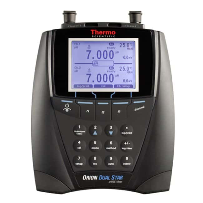 Thermo Scientific™ Orion™ Dual Star™ pH, ISE, mV, ORP and Temperature Dual Channel Benchtop Meter Meter with stand, cord Thermo Scientific™ Orion™ Dual Star™ pH, ISE, mV, ORP and Temperature Dual Channel Benchtop Meter