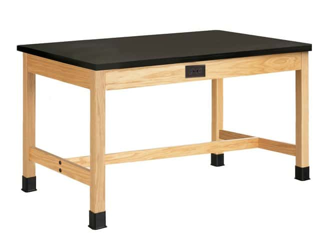 Diversified Woodcrafts Oak Table with  Plain Apron and ChemGuard Top: Leg