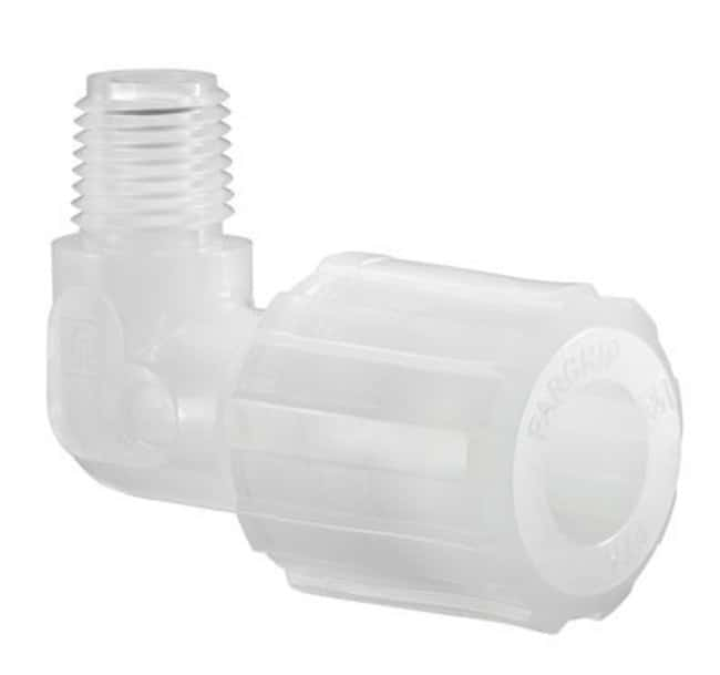"""Chemglass Life Sciences PFA 90° Adapter, 1/2"""" Compression to 1/4"""" NPT"""