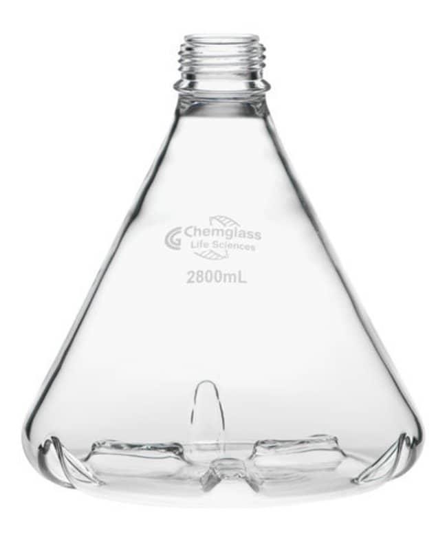 Chemglass Life Sciences Flask, Fernbach, 2800mL, GL-45 Thread, Side and