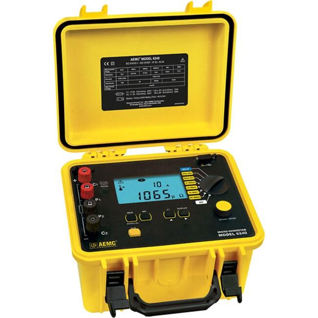 Cole-ParmerAEMC 6240 10-Amp Micro-Ohmmeter, 1µ Ohms to 400 Ohms