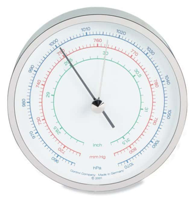 """Cole-ParmerTraceable Three-Scale Dial Barometer with Calibration; mbar/""""Hg/mm"""