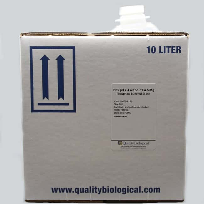 Quality Biological Inc PBS pH 7.4 without Calcium and Magnesium, 10 Liters