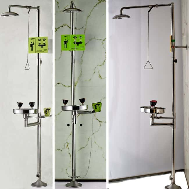 Azzota Corp Shower Safety Station w/ Eyewash Stainless Steel Bowl, Stainless