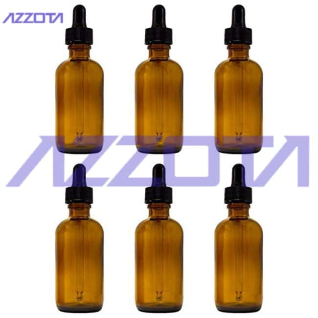 Azzota Corp15ml 1/2oz Amber Glass Bottles with Glass Eye Dropper, 6pk