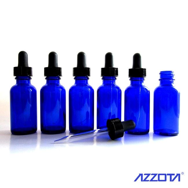 Azzota Corp 1/2oz (15ml) Blue vials  with Glass Eye Dropper,  6pk  15ML