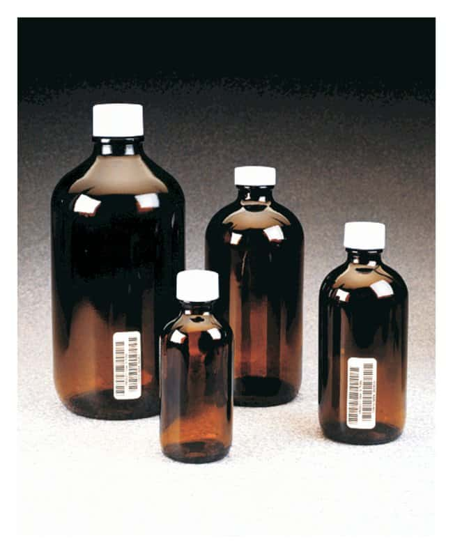 Thermo Scientific™I-Chem™ Boston Round Narrow-Mouth Amber Glass Bottles with Closure