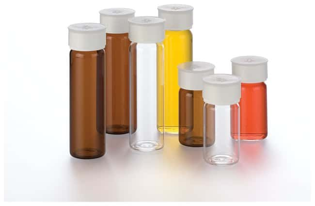 Thermo Scientific Premium Pack Amber Glass Vials with Closed-Top Cap, 20mL:Testing
