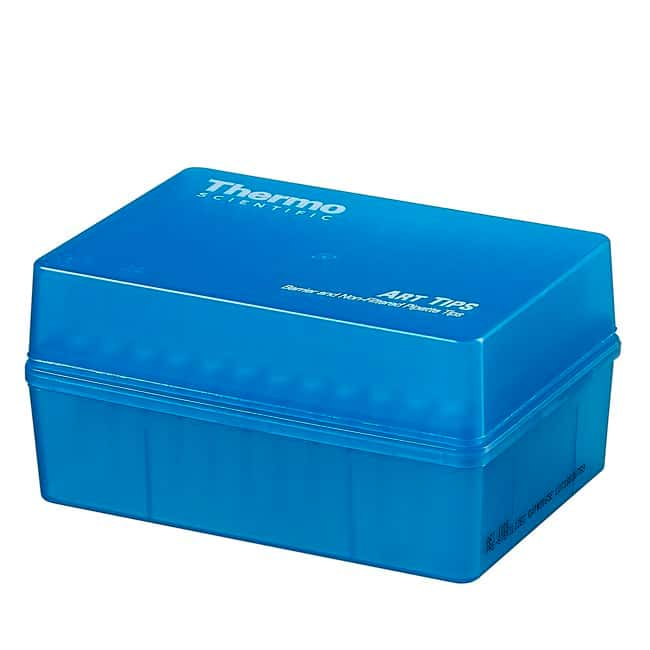 Thermo Scientific™ ART™ Barrier Pipette Tips in Lift-off Lid Rack ART&trade Barrier Pipette Tips; Volume: 200μL; Tip Model: ART 200; Tip style: MicroPoint; Sterility: Sterile; Unit Size: Case of 5 &times Packs of 10 × Racks of 96 tips (4800 tips in total) Products