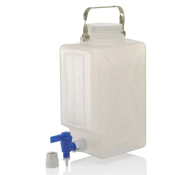 Thermo Scientific™ Nalgene™ Polypropylene, Rectangular Carboy with Spigot With spigots; Capacity: 2.0 gal. (9L) Thermo Scientific™ Nalgene™ Polypropylene, Rectangular Carboy with Spigot