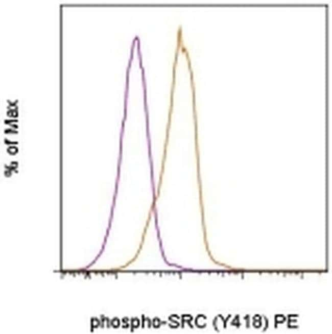 Phospho-SRC (Tyr418) Mouse anti-Human, Mouse, PE, Clone: SC1T2M3, eBioscience™ 25 Tests; PE Phospho-SRC (Tyr418) Mouse anti-Human, Mouse, PE, Clone: SC1T2M3, eBioscience™