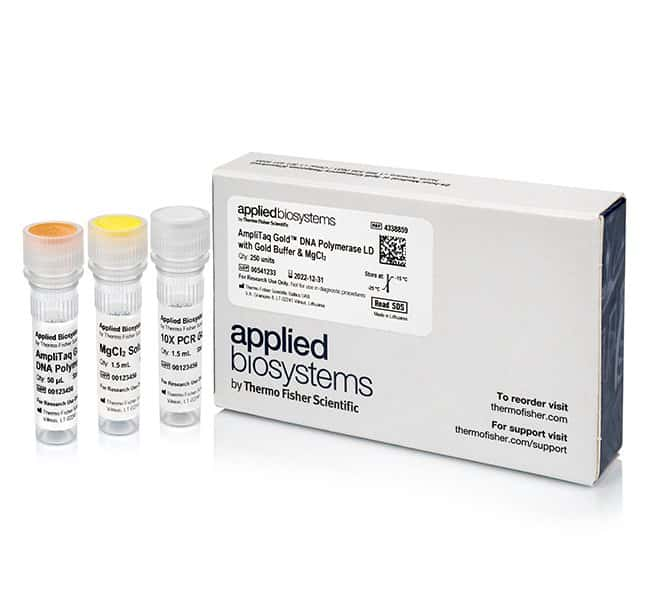 Applied Biosystems&trade;&nbsp;AmpliTaq Gold&trade; DNA Polymerase, LD (Low DNA) with Gold Buffer and MgCl<sub>2</sub> 250 units Applied Biosystems&trade;&nbsp;AmpliTaq Gold&trade; DNA Polymerase, LD (Low DNA) with Gold Buffer and MgCl<sub>2</sub>